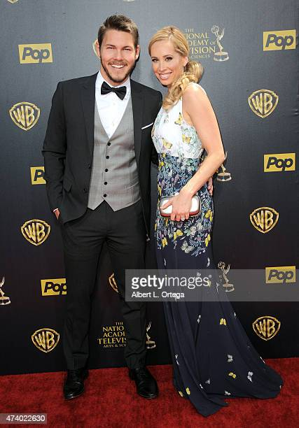 Actor Scott Clifton and Nicole Lampson arrive for The 42nd Annual Daytime Emmy Awards held at Warner Bros Studios on April 26 2015 in Burbank...