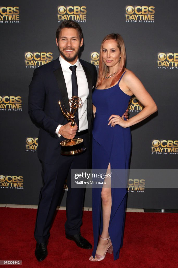 Actor Scott Clifton and Nicole Lampson attend the CBS Daytime Emmy after party at Pasadena Civic Auditorium on April 30, 2017 in Pasadena, California.