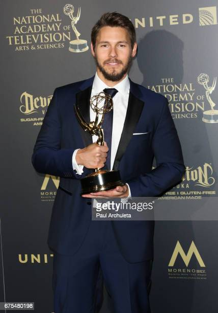 Actor Scott Clifton attends the press room for the 44th annual Daytime Emmy Awards at Pasadena Civic Auditorium on April 30 2017 in Pasadena...