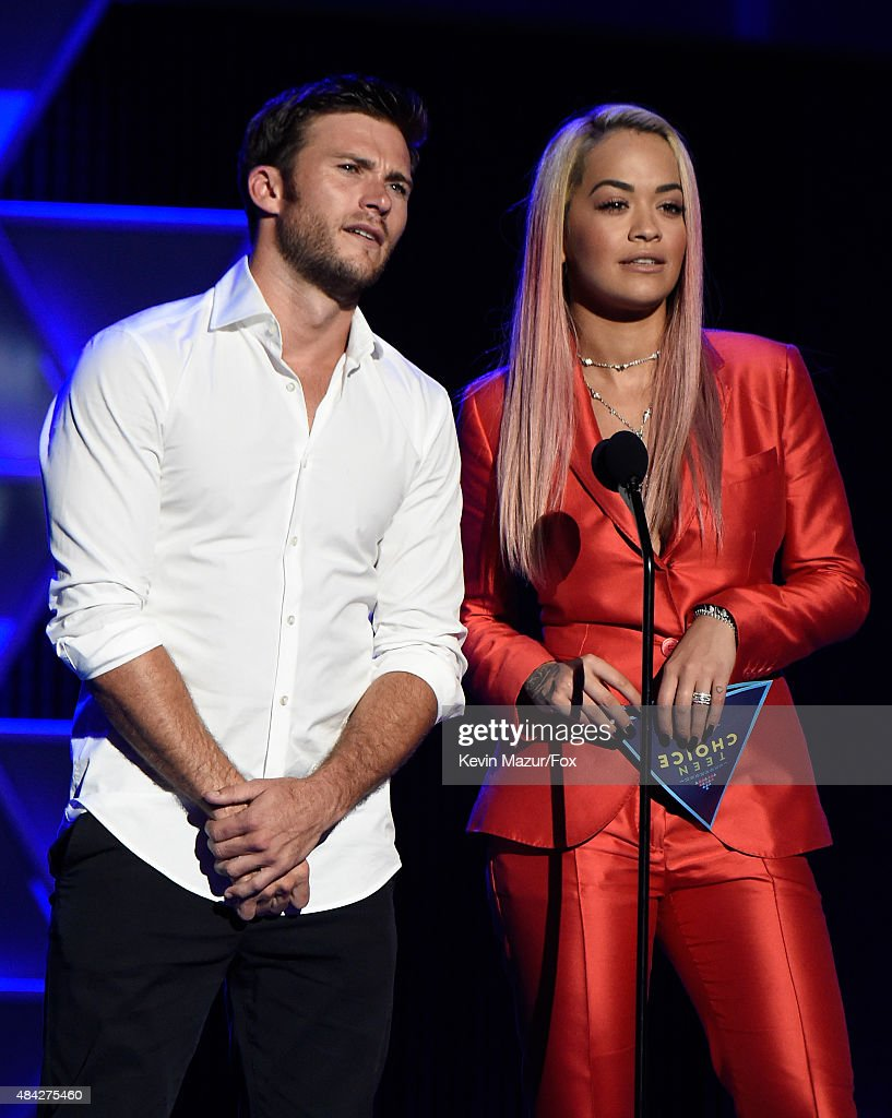 Actor Scott Eastwood and singer Rita Ora speak onstage during the Teen Choice Awards 2015 at the USC Galen Center on August 16 2015 in Los Angeles...