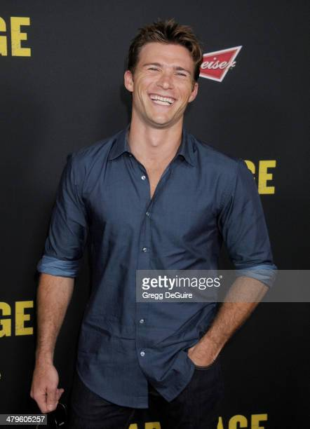 Actor Scott Eastwood arrives at the Los Angeles premiere of 'Sabotage' at Regal Cinemas LA Live on March 19 2014 in Los Angeles California
