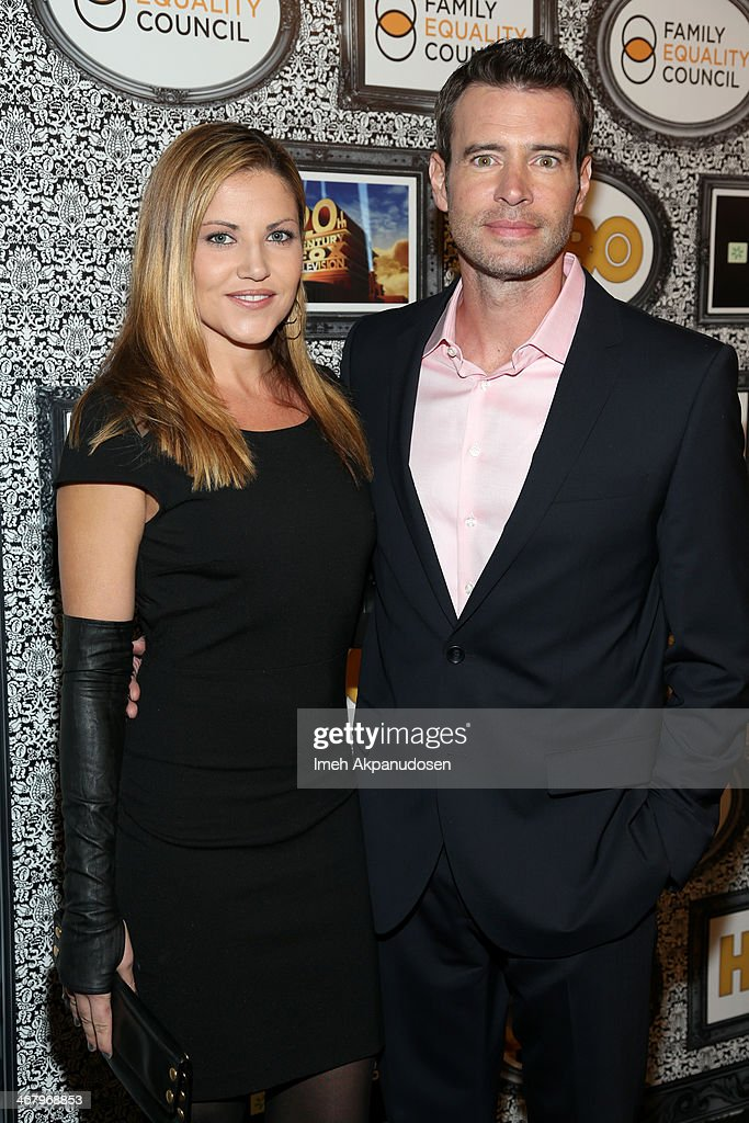 Actor Scott Foley and Marika Dominczyk attends Family Equality Council's annual Los Angeles awards dinner at The Globe Theatre on February 8 2014 in...