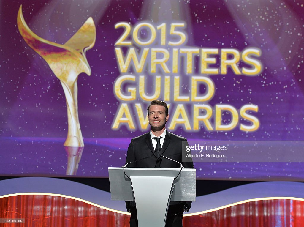 Actor Scott Foley speaks onstage at the 2015 Writers Guild Awards LA Ceremony at the Hyatt Regency Century Plaza on February 14 2015 in Century City...