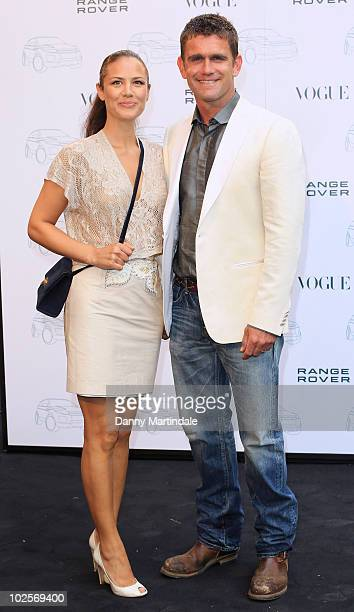 Actor Scott Maslen and guest attend a party to celebrate the 40th anniversary of Range Rover hosted by Vogue at The Orangery on July 1 2010 in London...