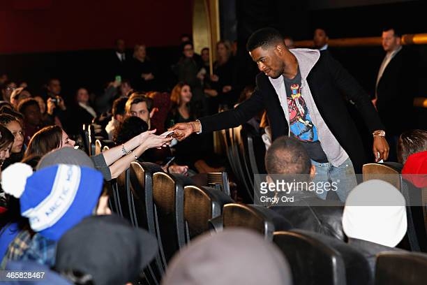 Actor Scott Mescudi interacts with fans during a special screening of the highly anticipated movie 'NEED FOR SPEED' and Q A hosted by Sway Calloway...