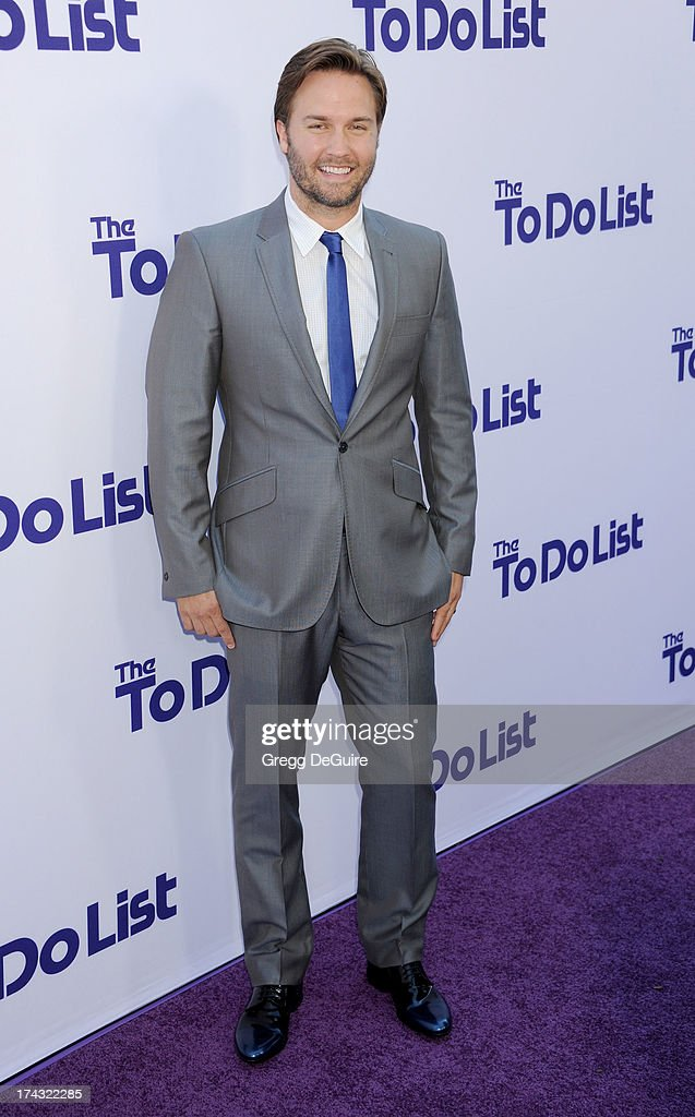 Actor <a gi-track='captionPersonalityLinkClicked' href=/galleries/search?phrase=Scott+Porter+-+Actor&family=editorial&specificpeople=6865557 ng-click='$event.stopPropagation()'>Scott Porter</a> arrives at the Los Angeles premiere of 'The To Do List' at Regency Bruin Theatre on July 23, 2013 in Los Angeles, California.