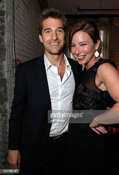 Actor Scott Speedman and Actress Lynn Collins attend the 'Ten Year' dinner hosted by GREY GOOSE Vodka at Soho House Pop Up Club during the 2011...