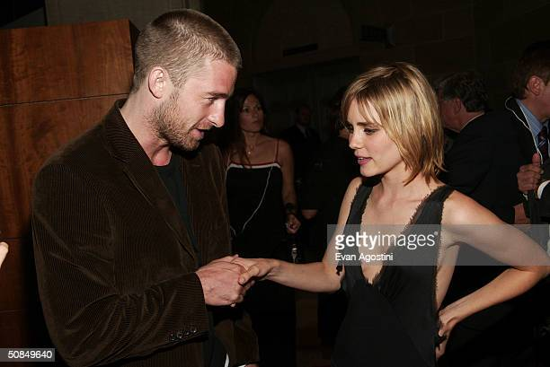 Actor Scott Speedman chats with actress Alison Lohman at the 'Matchstick Men' premiere afterparty at the Royal Ontario Museum as part of 2003 Toronto...