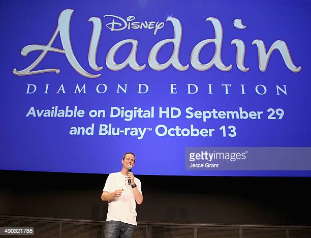 Actor Scott Weinger speaks during a special LA screening celebrating Diamond Edition release of 'ALADDIN' at The Walt Disney Studios on September 27...