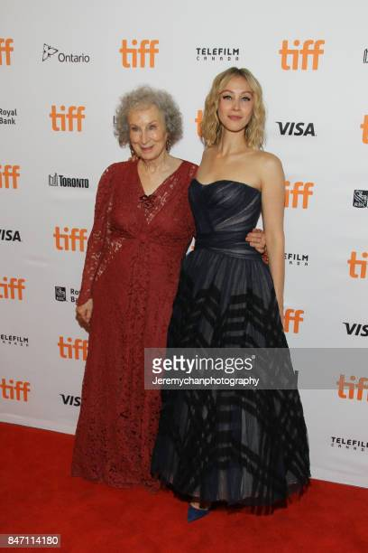 Actor / screenwriter Margaret Atwood and actor Sarah Gadon attend the 'Alias Grace' Premiere held at Winter Garden Theatre during the 2017 Toronto...