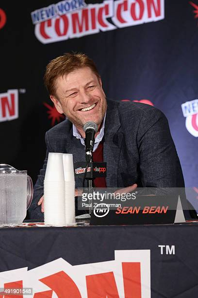 Actor Sean Bean speaks at the TNT Panel Legends TNT at New York Comic Con at Jacob Javitz Center on October 8 2015 in New York City 25749_077JPG