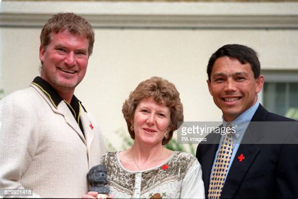 Actor Sean Blowers from London's Burning and England rugby ace Rory Underwood with Nancy Higgins from Dundee after she received her 1997 British Red...