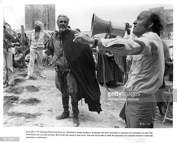 Actor Sean Connery and director Richard Lester on set of the Columbia Pictures movie 'Robin and Marian' in 1976