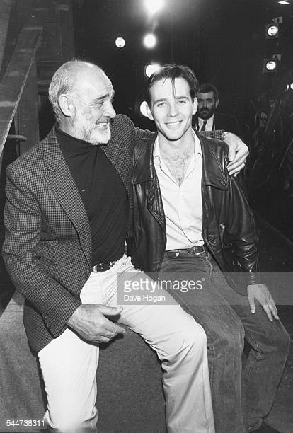 Actor Sean Connery and his son Jason on the set of the latter's new play April 16th 1988