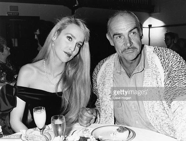 Actor Sean Connery and model Jerry Hall eating a meal together April 21st 1987