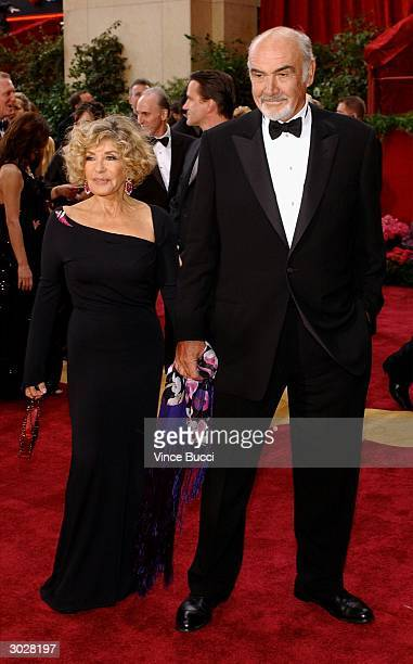 Actor Sean Connery and wife Micheline Connery attend the 76th Annual Academy Awards on February 29 2004 at the Kodak Theater in Hollywood California
