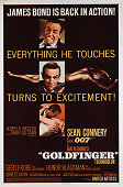 Actor Sean Connery appears as superspy James Bond on a US onesheet for the United Artists film 'Goldfinger' 1964