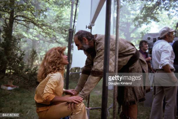 Actor Sean Connery speaks to his wife Micheline Roquebrune on the set of Robin and Marian Connery played the role of Robin Hood in this 1976...
