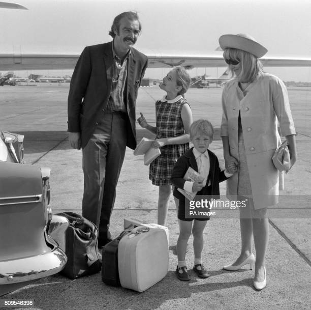 Actor Sean Connery with his actress wife Diane Cilento and their children Gigi aged 9 and Jason aged 4 before flying to Nice France