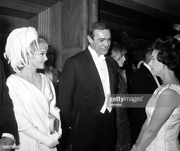Actor Sean Connery with wife Diane Cilento meeting Princess Margaret at the London Film Premiere of Lord Jim February 1965 RU1379