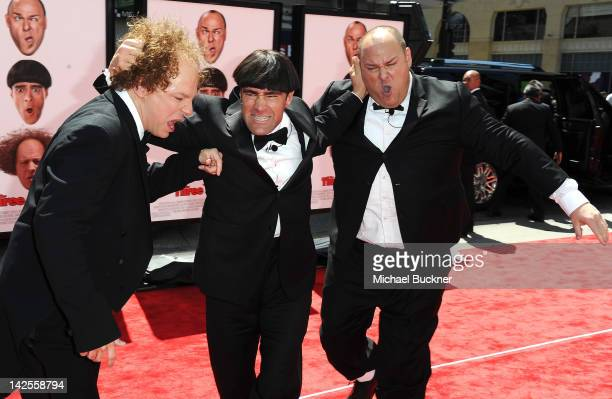 Actor Sean Hayes actor Chris Diamantopoulos and actor Will Sasso attend the Los Angeles premiere of 'The Three Stooges' on April 7 2012 in Hollywood...