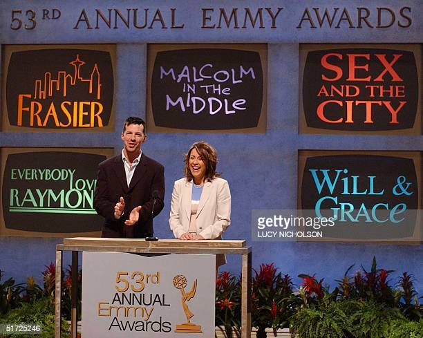 US actor Sean Hayes applauds as he comes to the nomination for his programme 'Will Grace' while announcing the 53rd Annual Primetime Emmy Award...