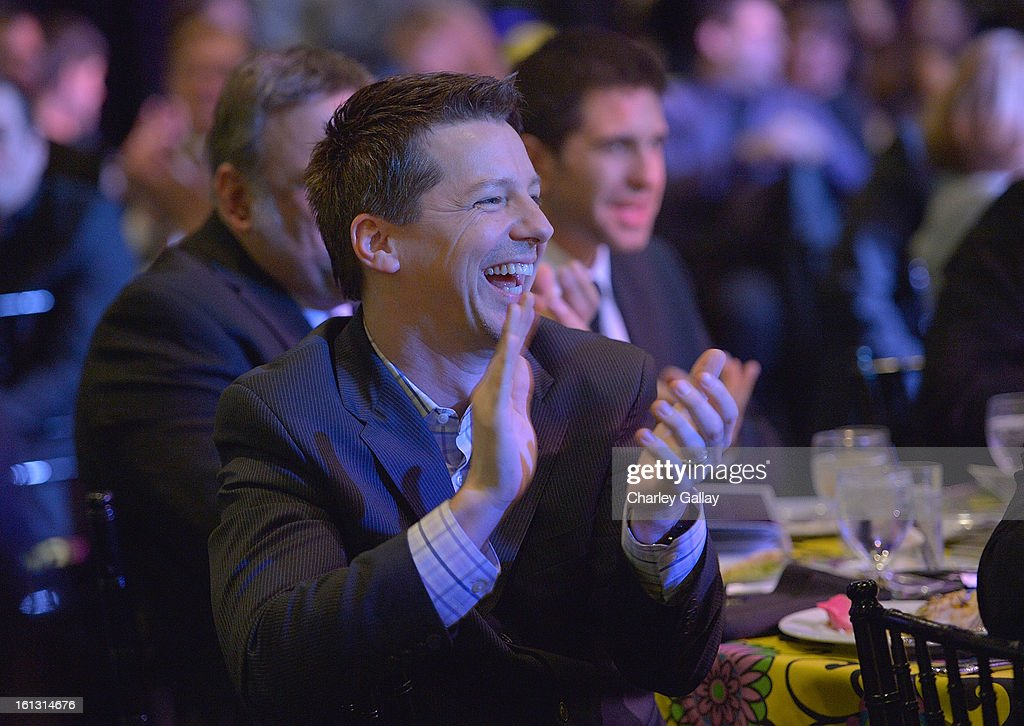 Actor <a gi-track='captionPersonalityLinkClicked' href=/galleries/search?phrase=Sean+Hayes&family=editorial&specificpeople=204240 ng-click='$event.stopPropagation()'>Sean Hayes</a> attends the Family Equality Council LA Awards Dinner at The Globe Theatre at Universal Studios on February 9, 2013 in Universal City, California.