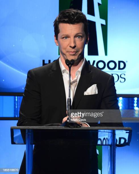 Actor Sean Hayes speaks onstage during the 17th annual Hollywood Film Awards at The Beverly Hilton Hotel on October 21 2013 in Beverly Hills...