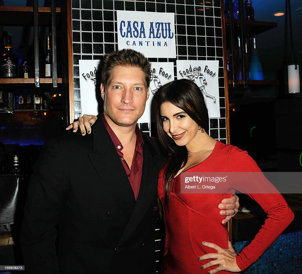 Actor <a gi-track='captionPersonalityLinkClicked' href=/galleries/search?phrase=Sean+Kanan&family=editorial&specificpeople=544480 ng-click='$event.stopPropagation()'>Sean Kanan</a> and model/singer <a gi-track='captionPersonalityLinkClicked' href=/galleries/search?phrase=Mayra+Veronica&family=editorial&specificpeople=667017 ng-click='$event.stopPropagation()'>Mayra Veronica</a> participate in Food On Foot's 'Hot Latin Nights' held at Casa Azul Cantina on November 8, 2012 in Los Angeles, California.