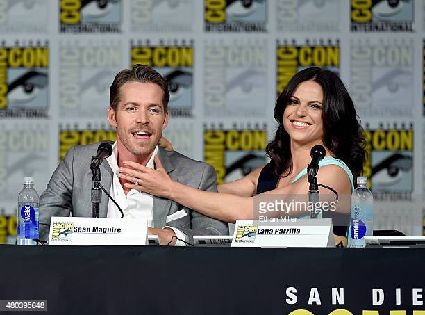 Actor Sean Maguire and actress Lana Parrilla attend the 'Once Upon a Time' panel during ComicCon International 2015 at the San Diego Convention...