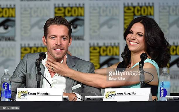 Actor Sean Maguire and actress Lana Parrilla joke around as they attend the 'Once Upon a Time' panel during ComicCon International 2015 at the San...