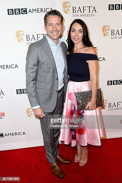Actor Sean Maguire and Tanya Flynn attend the BBC America BAFTA Los Angeles TV Tea Party 2016 at The London Hotel on September 17 2016 in West...