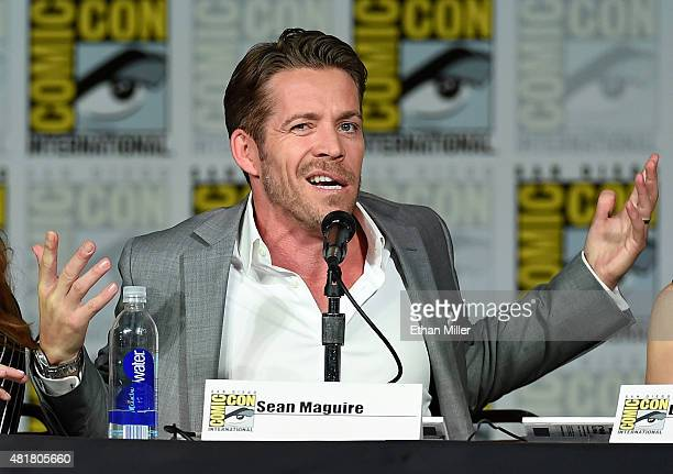 Actor Sean Maguire jokes around as he attends the 'Once Upon a Time' panel during ComicCon International 2015 at the San Diego Convention Center on...