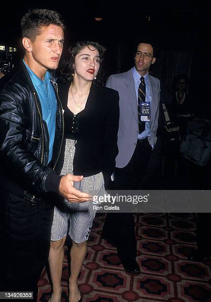 Actor Sean Penn and singer Madonna attend the World Heavyweight Championship Boxing Match Mike Tyson vs Michael Spinks on June 27 1988 at Trump Plaza...