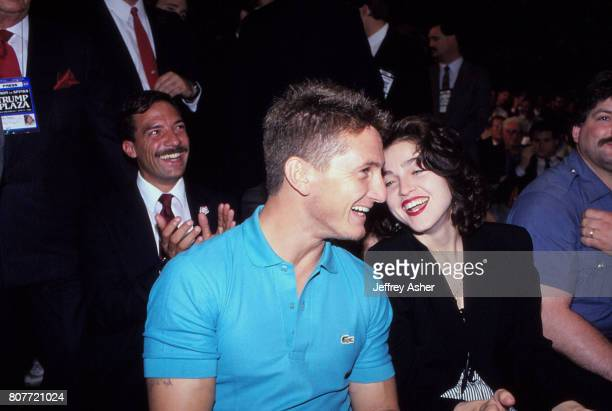 Actor Sean Penn and Singer Madonna ringside at Tyson vs Holmes Convention Hall in Atlantic City New Jersey January 22 1988