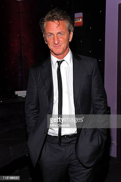 Actor Sean Penn attends the Tribeca Film Festival afterparty for 'Love Hate Love' hosted by Stolichnaya Vodka at Tenjune on April 26 2011 in New York...