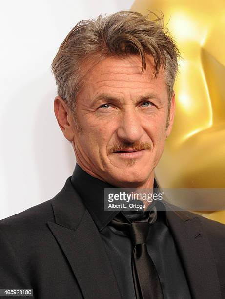 Actor Sean Penn poses inside the press room of the 87th Annual Academy Awards held at Loews Hollywood Hotel on February 22 2015 in Hollywood...