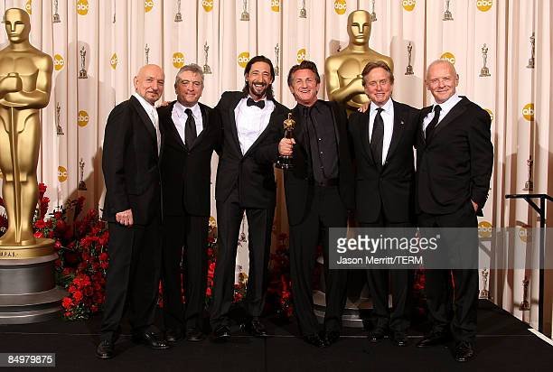 Actor Sean Penn poses with actors Ben Kingsley Robert De Niro Adrien Brody Michael Douglas and Anthony Hopkins after winning the Best Actor award for...