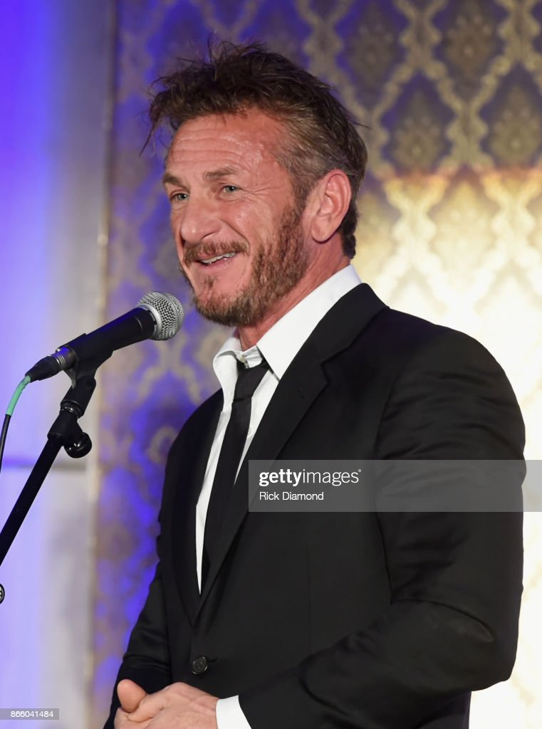 Actor Sean Penn speaks onstage at Nashville Shines for Haiti benefiting Sean Penn's J/P Haitian relief organization featuring Tim McGraw hosted and underwritten by Johnathon Arndt and Newman Arndt at the Arndt Estate on October 24, 2017 in Brentwood, Tennessee.