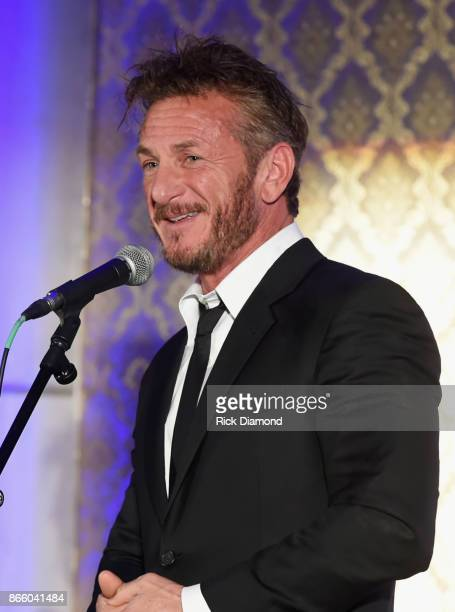 Actor Sean Penn speaks onstage at Nashville Shines for Haiti benefiting Sean Penn's J/P Haitian relief organization featuring Tim McGraw hosted and...