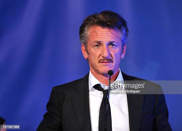 Actor Sean Penn speaks onstage at the Cinema For Peace event benefitting J/P Haitian Relief Organization in Los Angeles held at Montage Hotel on...