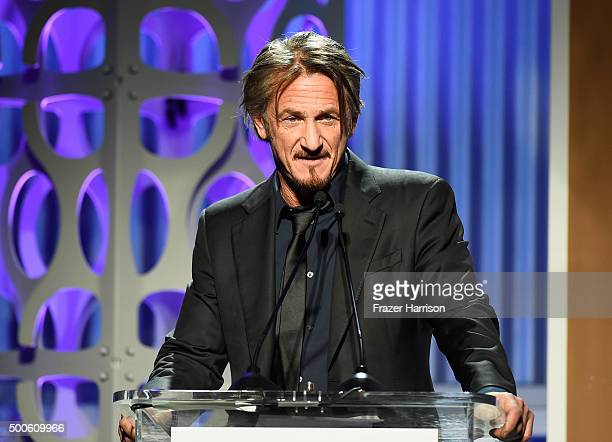Actor Sean Penn speaks onstage during the 24th annual Women in Entertainment Breakfast hosted by The Hollywood Reporter at Milk Studios on December 9...