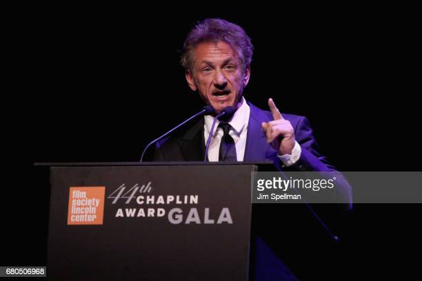 Actor Sean Penn speaks onstage during the 44th Chaplin Award Gala at David H Koch Theater at Lincoln Center on May 8 2017 in New York City