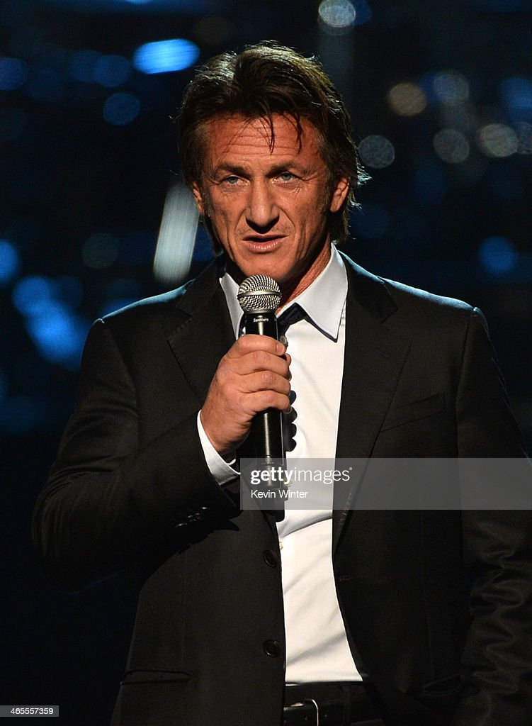 Actor <a gi-track='captionPersonalityLinkClicked' href=/galleries/search?phrase=Sean+Penn&family=editorial&specificpeople=202979 ng-click='$event.stopPropagation()'>Sean Penn</a> speaks onstage during 'The Night That Changed America: A GRAMMY Salute To The Beatles' at the Los Angeles Convention Center on January 27, 2014 in Los Angeles, California.