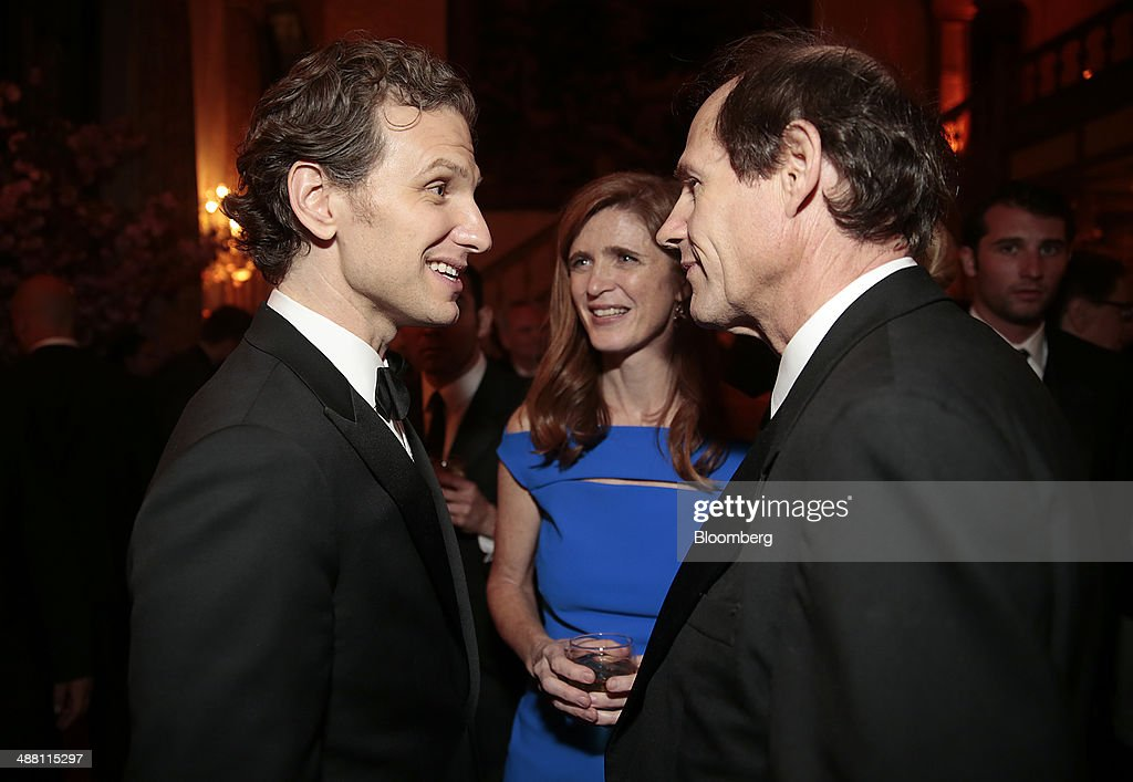 Actor Sebastian Arcelus, from left, legal scholar <a gi-track='captionPersonalityLinkClicked' href=/galleries/search?phrase=Cass+Sunstein&family=editorial&specificpeople=3734426 ng-click='$event.stopPropagation()'>Cass Sunstein</a>, right, and <a gi-track='captionPersonalityLinkClicked' href=/galleries/search?phrase=Samantha+Power&family=editorial&specificpeople=2541335 ng-click='$event.stopPropagation()'>Samantha Power</a>, U.S. ambassador to the United Nations, attend the Bloomberg Vanity Fair White House Correspondents' Association (WHCA) dinner afterparty in Washington, D.C., U.S., on Saturday, May 3, 2014. The WHCA, celebrating its 100th anniversary, raises money for scholarships and honors the recipients of the organization's journalism awards. Photographer: Andrew Harrer/Bloomberg via Getty Images