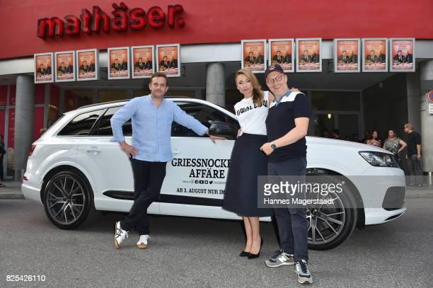 Actor Sebastian Bezzel Actress Lisa Maria Potthoff and Simon Schwarz during the 'Griessnockerlaffaere' premiere at Mathaeser Filmpalast on August 1...