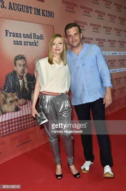 Actor Sebastian Bezzel and his wife Johanna Christine Gehlen during the 'Griessnockerlaffaere' premiere at Mathaeser Filmpalast on August 1 2017 in...