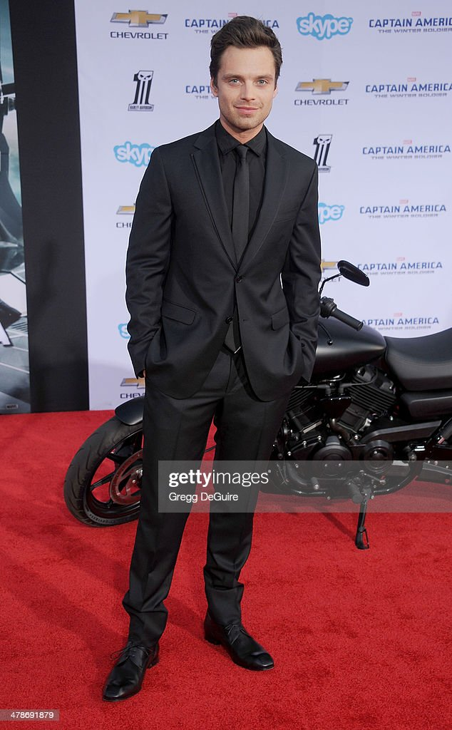 Actor <a gi-track='captionPersonalityLinkClicked' href=/galleries/search?phrase=Sebastian+Stan&family=editorial&specificpeople=656034 ng-click='$event.stopPropagation()'>Sebastian Stan</a> arrives at the Los Angeles premiere of 'Captain America: The Winter Soldier' at the El Capitan Theatre on March 13, 2014 in Hollywood, California.