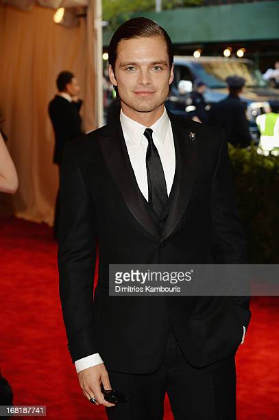 Actor Sebastian Stan attends the Costume Institute Gala for the 'PUNK Chaos to Couture' exhibition at the Metropolitan Museum of Art on May 6 2013 in...