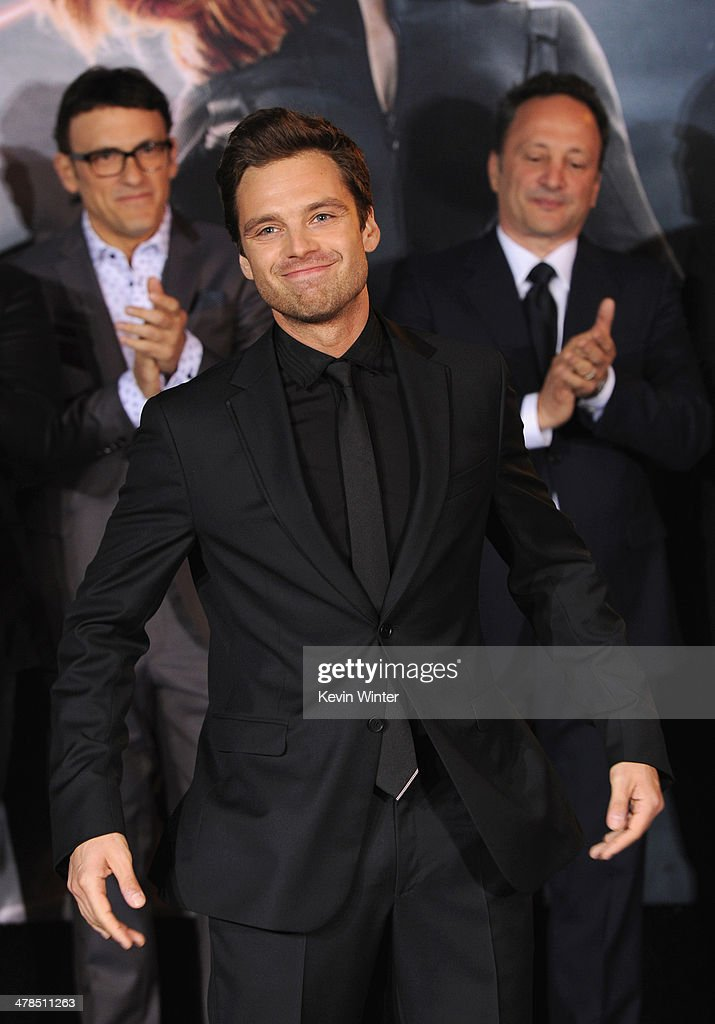 Actor <a gi-track='captionPersonalityLinkClicked' href=/galleries/search?phrase=Sebastian+Stan&family=editorial&specificpeople=656034 ng-click='$event.stopPropagation()'>Sebastian Stan</a> attends the premiere of Marvel's 'Captain America: The Winter Soldier' at the El Capitan Theatre on March 13, 2014 in Hollywood, California.